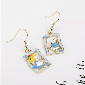 New Alice in wonderland&princess rabbit earrings